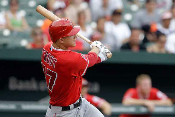 Mike Trout with the Angels last season.