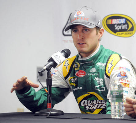 Kasey Kahne driver of the #5 Farmers Insurance Chevrolet talks about the Goodyear tire test on the new racing surface at Pocono Raceway Wednesday.
