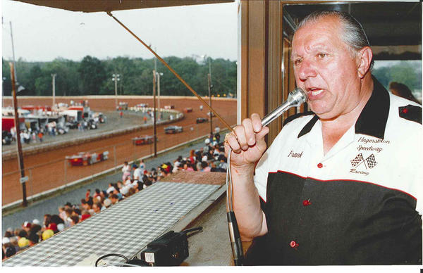 The late Hagerstown Speedway announcer Frank Sagi calls a race in this May, 1992, Herald-Mail file photo.