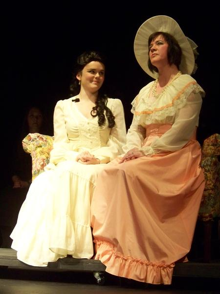 "Charlotte Malcolm, played by Dawn Ulrich (right) takes a moment of reflection before spilling a big secret to Anne Egerman, played by Hannah Stoppel in the Little Traverse Civic Theatre's production of ""A Little Night Music."""