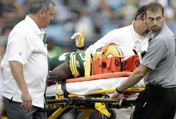 Green Bay Packers safety Nick Collins is taken off the field on a stretcher in a game against the Carolina Panthers on Sept. 18.