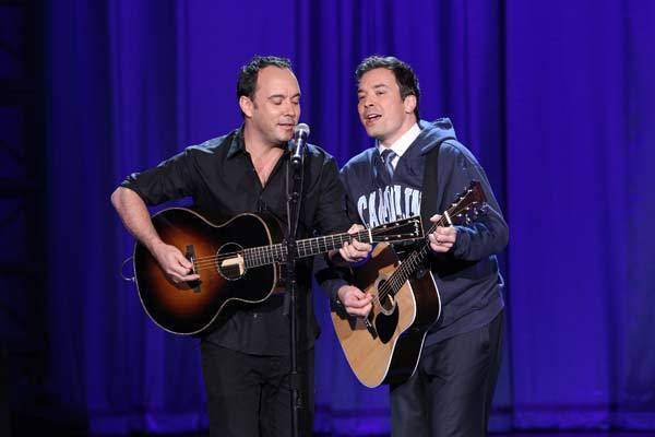 "Dave Matthews and Jimmy Fallon perform on ""Late Night with Jimmy Fallon."""