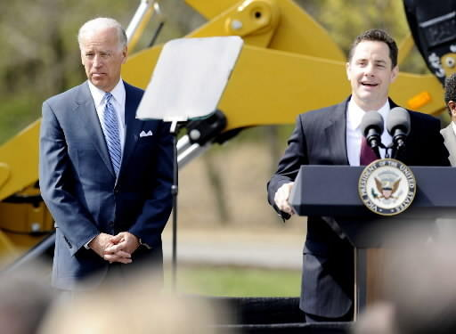 John Callahan campaigns with V.P. Joe Biden in April 2010