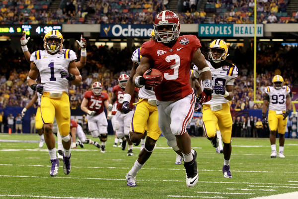 Alabama's Trent Richardson runs for a 34 yard touchdown in the fourth quarter against LSU.