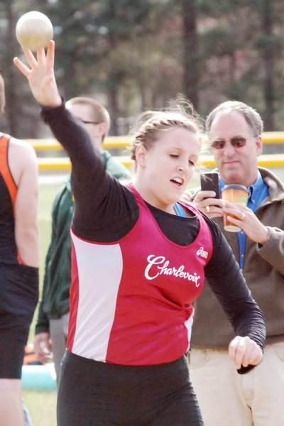 Jenna Way of Charlevoix releases the shotput Wednesday during the Harbor Springs Ram Scram track and field meet. Way finished third in the event.