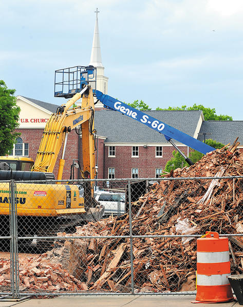 The Rahauser building demolition in downtown Chambersburg, Thursday.