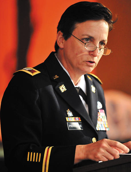 Col. Cheri Provancha, commander at Letterkenny Army Depot, gives the keynote address at Thursday's Women in Need vigil.