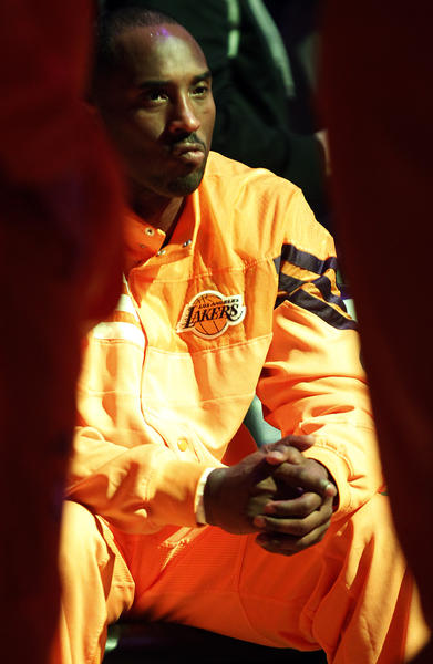 Lakers guard Kobe Bryant waits for player introductions before a game against the Golden State Warriors at Staples Center on Jan. 6