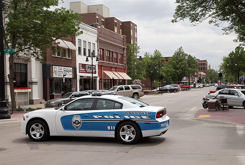 A new patrol car of the Aberdeen Police Department crosses South Main Street Wednesday. photo by john davis taken 6/8/2011