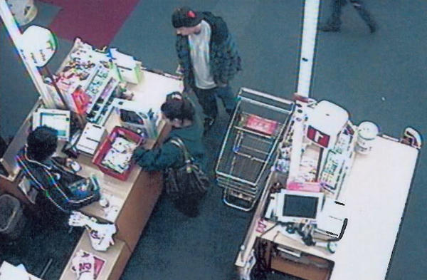 Suspects in a Burbank identity theft case at the register of the CVS on San Fernando Boulevard.