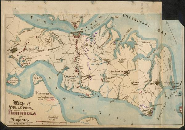 Union cartographer Robert Knox Sneden drew this map of the Confederate and Union positions on the Peninsula during the 1862 siege of Yorktown.