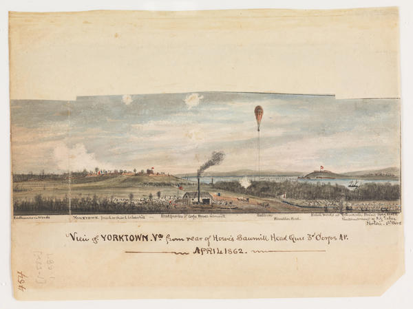 Union cartographer Robert Knox Sneden shows a Union observation balloon and the Confederate defenses at Yorktown in this 1862 watercolor.
