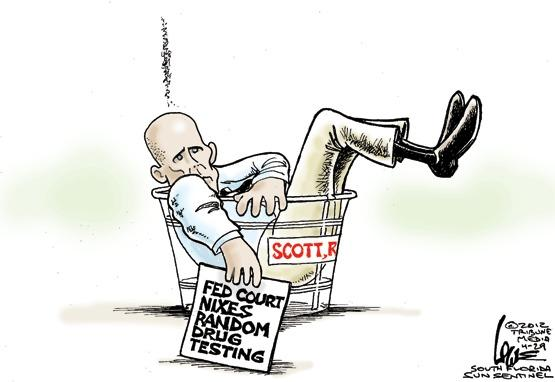 Gov. Scott slapped down on drug testing