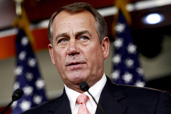 House Speaker John Boehner of Ohio speaks during his weekly news conference on Capitol Hill in Washington.