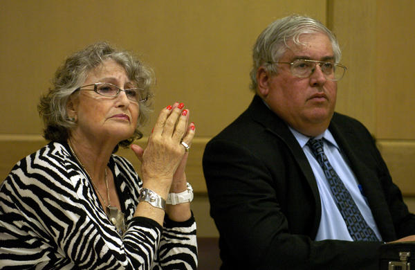 "Suspended Tamarac commissioner Patricia ""Patte"" Atkins-Grad with her attorney Kenneth Malnik in Broward Circuit Court in 2012. Photo by Taimy Alvarez, Sun Sentinel"