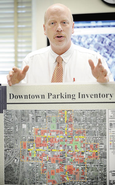 Hagerstown City Engineer Rodney Tissue addresses traffic and parking issues Tuesday morning that may arise if the proposed multiuse entertainment complex is built in downtown Hagerstown.