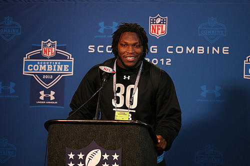 Courtney Upshaw speaks at a press conference during the NFL combine at Lucas Oil Stadium.