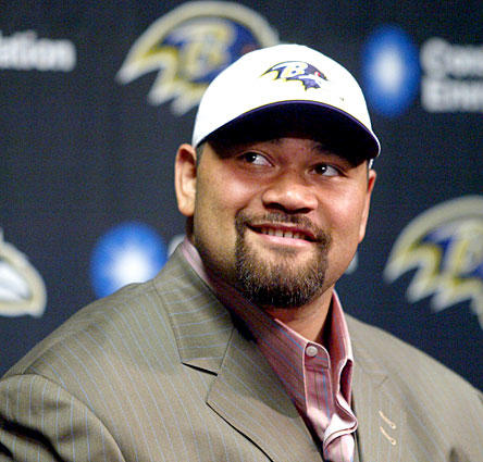The Ravens selected Oregon nose tackle Haloti Ngata in the first round with the 12th overall pick.  Ngata answers questions during a news conference Sunday at the Ravens training facility in Owings Mills.