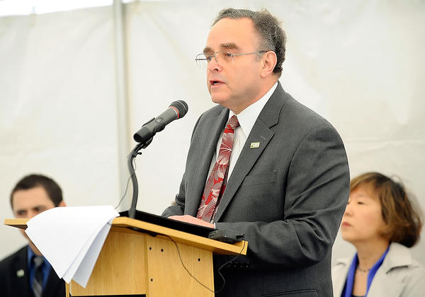 HCC President Guy Altieri welcomed guests to the STEM building dedication ceremony Friday morning.