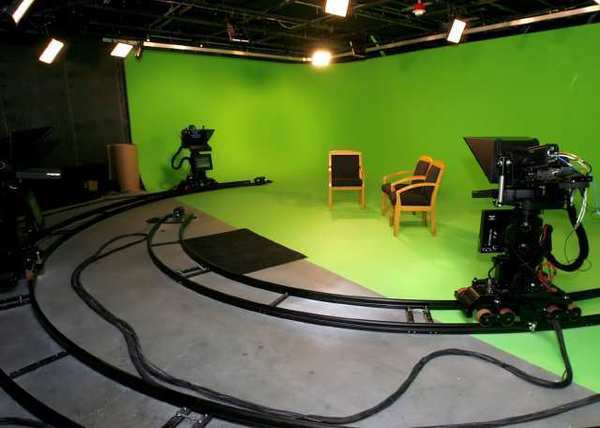 KCET's studio B (green studio) at the station's new location at The Pointe in Burbank.