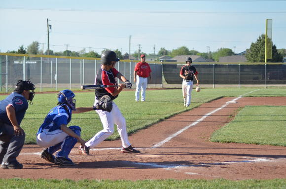 Great Bend senior Mitch Kottas takes a swing for one of his two triples in Friday's sweep of Nickerson.
