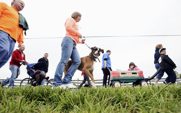 Participants walk the course at the annual Walk MS 2012 held on Saturday at the Antietam National Battlefield.