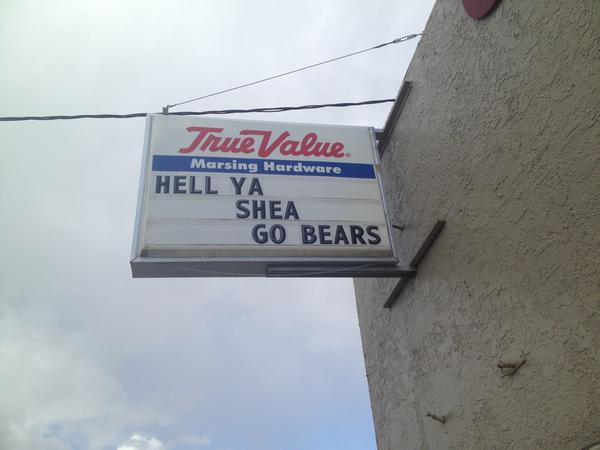 Photo of a sign in Idaho congratulating Bears top draft pick Shea McClellin.