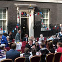 Prime Minister David Cameron hosts a royal wedding street party at 10 Downing Street on April 29.