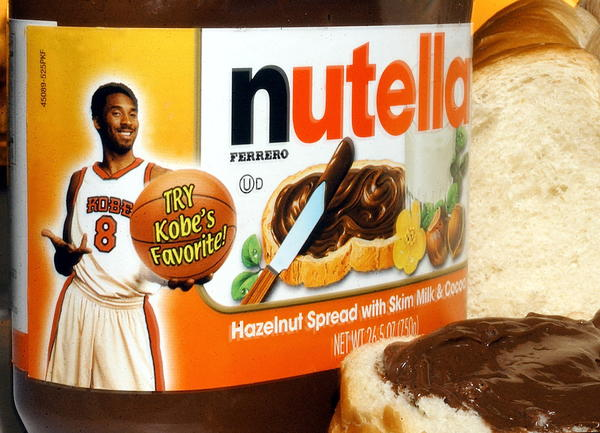 Lakers star Kobe Bryant is shown on a jar of Ferrero brand Nutella Hazelnut spread. Bryant grew up eating Nutella in Italy.