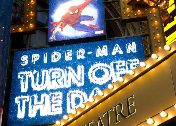 "The marquee for the Broadway musical ""Spider-Man Turn: Off the Dark"" at the Foxwoods Theatre in New York."