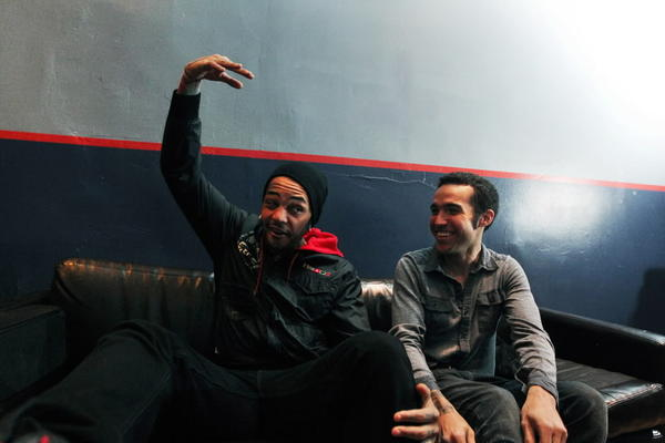 Musicians Travie McCoy (left) and Pete Wentz (cq) clown around before their show at The Metro March 25, 2011