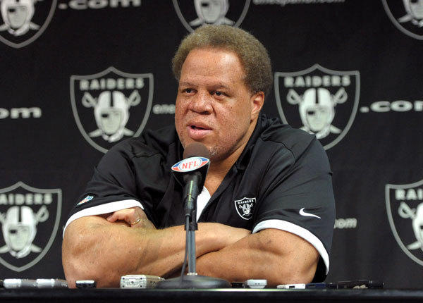 "The Raiders didn't get to pick until No. 95 overall but that didn't stop general manager Reggie McKenzie (above) from recognizing the team's ""first round"" investment in quarterback Carson Palmer, who of course Oakland landed from the Bengals in exchange for picks. Under McKenzie, the Raiders are clearly heading in a different direction than they were with the late Al Davis, as the team didn't draft a single speedster. Their one ""skill"" position talent, in fact, was Arizona wideout Juron Criner, arguably the top possession receiver of this draft but one who was clocked at a rather pedestrian 4.68 seconds in the 40-yard dash at the Combine. Nonetheless, this was a solid effort for the Raiders, as their first four choices could all make immediate impacts. Utah's Tony Bergstrom can help at right tackle or guard, as he did at the Senior Bowl. San Diego State's Miles Burris is an explosive hitter who would have been drafted at least a round earlier if he'd played in a bigger conference than the Mountain West and Penn State defensive end Jack Crawford is a solid, no-nonsense prospect much in the mold of the Raiders' current starter, Matt Shaughnessy. Considering they had so little to work with, this was solid effort by the Raiders."