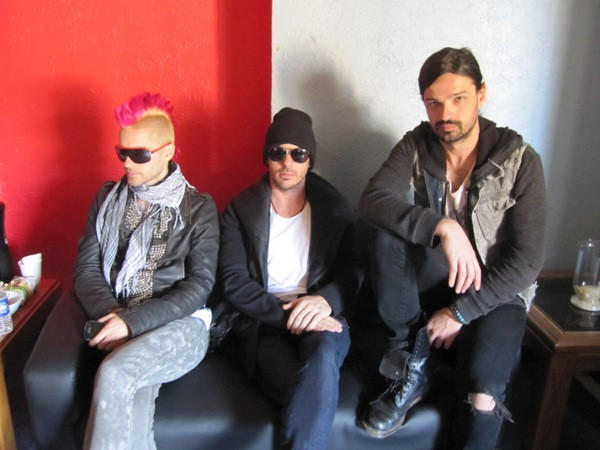 30 Seconds to Mars' Jared Leto (left), Shannon Leto (center) and Tomo Milicevic (right) before their show at the Aragon Ballroom April 16, 2010.