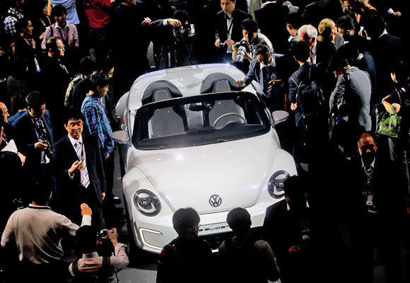 "The Volkswagen E-Bugster Speedster concept car is presented during the Volkswagen ""Group Night"" in Beijing on April 22. A new settlement between California and power provider NRG would install $100 million in new EV infrastructure in the state."