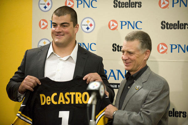 The Steelers might be labeled lucky because All-American guard David DeCastro (above) fell to them at No. 24. More accurately, the Steelers were simply prepared when opportunity presented itself. With Ben Roethlisberger's incredible combination of size and pocket awareness, he's consistently able to keep his eyes downfield by stepping up into the pocket, making the three interior linemen more valuable in the Steelers' scheme and offensive tackles less so, which is why the Steelers didn't have to reach and were able to secure Ohio State's Mike Adams when he, too, slipped to them. Just as Pittsburgh reloaded its offensive line, they found fortification on the defensive front with wide-bodied nose guard Alameda Ta'amu in the third round to serve as an eventual replacement for Casey Hampton. The addition of speedy back Chris Rainey served as the icing on the cake, as the Steelers continue their tradition of understated excellence on draft day.