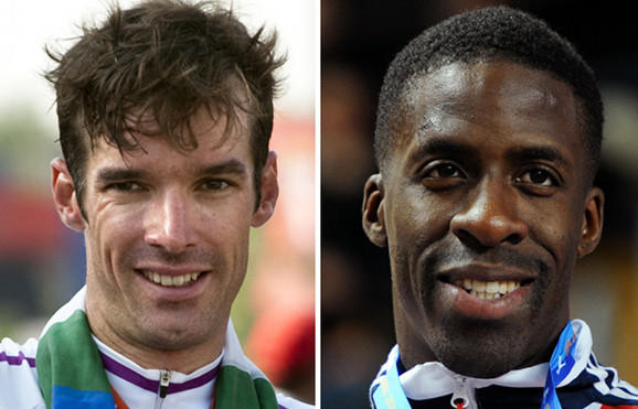 British cyclist David Millar (left) and sprinter Dwain Chambers in a photo composite