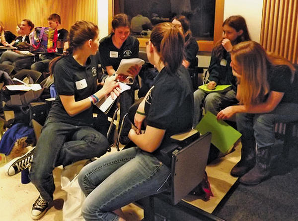 From left, Mariah Chapelle, Zoe Chapelle, Crystal Welling, Lilli Sutton (paritially blocked), Katie Sprankle and Megan Leisinger compete in the annual 4-H Horse Bowl at the University of Maryland.