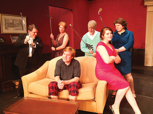 "Starring in ""Fox on the Fairway"" are from left, Robert Allen, seated, and Elizabeth Rickets. Second row from left, Steven Brewer, Bettina Fiery, Glenn Frail and Karen Paone."