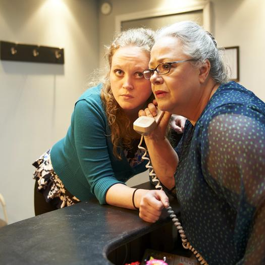 "Cheryl Roy and Caroline Neff in ""The Receptionist."""