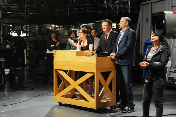 "Cast members of NBC's ""30 Rock"" Tina Fey, Alec Baldwin and Scott Adsit."