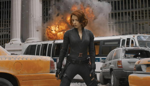"Scarlett Johansson plays Black Widow in ""The Avengers."""