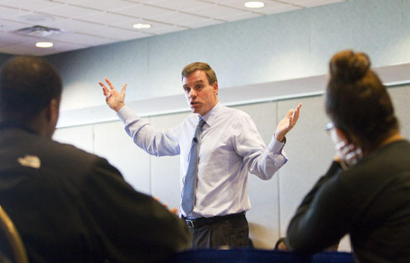 U.S. Senator Mark Warner answers questions from students about status of America's economic recovery in a town hall meeting Monday at Hampton University. Warner also discussed on science, technology, engineering and math (STEM) education and jobs.