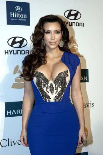 Kim Kardashian on the red carpet before the Clive Davis pre-Grammy party at the Beverly Hilton in February.