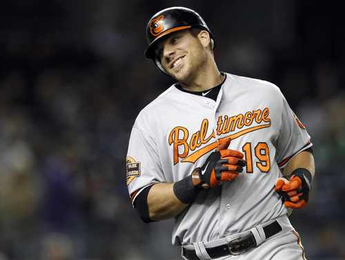 Chris Davis smiles as he heads back to the dugout after lining out to shortstop Derek Jeter during the fifth inning.