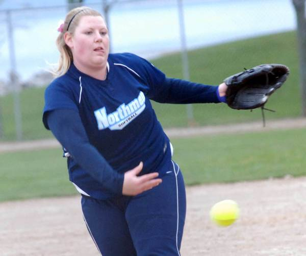 Petoskey pitcher Ellen Loper delivers to the plate during a non-league doubleheader Monday with Cheboygan at Bayfront Park's Ed White Field.