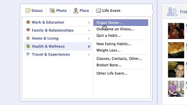 Facebook today enabled users to declare their status as a potential organ donor.