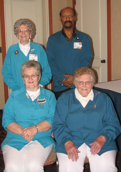 Pictured are the City Hospital volunteers who were recognized for having the most hours served in 2011. Seated, from left, are Dorothy Anderson, 884 hours, and Marie Copenhaver, 687 hours. Standing, from left, are Ann Barthlow, 630 hours, and Roland Hamilton, 684 hours. Copenhaver has the most cumulative hours to date with 11,788.