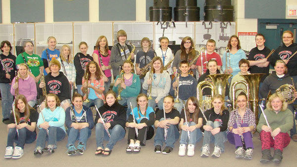 Here are Johannesburg-Lewiston Middle School band students who participated in the Middle School Solo & Ensemble. These musicians entered 35 events and returned home with 25 first division ratings and 10 second division ratings from the competition.