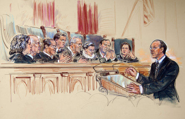 This artist rendering shows attorney Paul Clement before the Supreme Court in Washington during arguments on the constitutionality of President Obama's healthcare overhaul. Justices, from left are, Sonia Sotomayor, Stephen G. Breyer, Clarence Thomas, Antonin Scalia, Chief Justice John G. Roberts Jr., Anthony M. Kennedy, Ruth Bader Ginsburg, Samuel A. Alito Jr. and Elena Kagan.