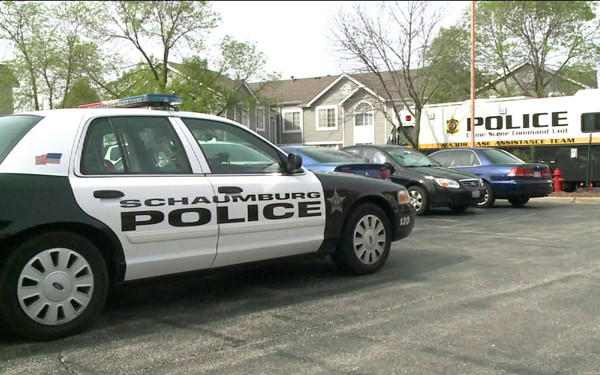 Police on the scene of a fatal stabbing at a Schaunburg housing complex earlier this week.